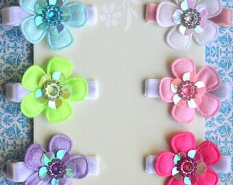 Set of 6 Sparkle Sequin Flower Clips