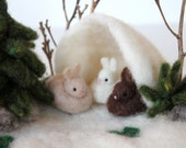 Three Bunnies in a Winter Cave with Pine Tree-needle felted scene