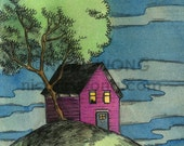 "Limited Edition Hand Painted 4x6"" Painting ---- ---- Little house on the hill"