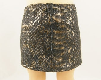 REDUCED 18 Inch Doll Clothes Snakeskin Print Denim Straight Mini Skirt Black and Gold Girls Toy
