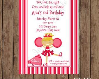 Custom Printed Blonde or Brunette Red Cheer Birthday Invitations - 1.00 each with envelope