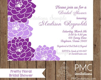 Custom Printed Purple Floral Bridal Shower Invitations - 1.00 each with envelope