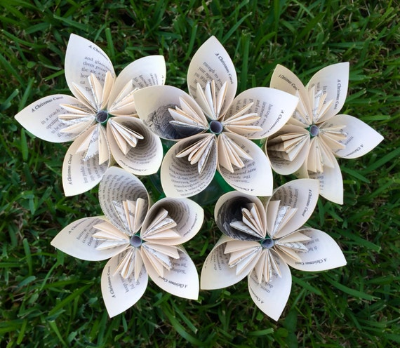 A Christmas Carol Recycled Book Paper Flowers {5 Medium Size}