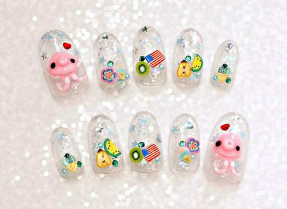 False nails 3d nails octopus summer nail glittery oval nails false nails 3d nails octopus summer nail glittery oval nails polymer clay kawaii nails japanese nail art from aya1gou on etsy studio prinsesfo Image collections