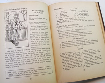 French Language 1920s Book France Premiere School Instruction Book Illustrated Vintage School Lessons Antique Ephemera French Country Decor