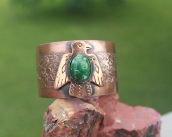 Vintage Thunderbird Copper Cuff With Jade Glass Cabochon