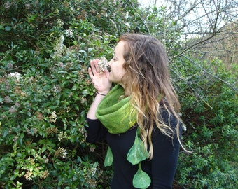 Green felted scarf with leaves, spring garden - LOWER PRICE