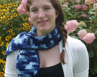 Fancy Crochet  Fashion Scarf  Ombra  Blue  with Fancy Button (Free US Shipping)