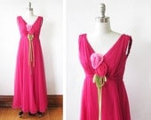1960s chiffon maxi dress, vintage 60s raspberry red floral gown, xshot pink empire waist dress