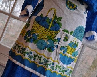 Blue 1960s 1970s Vintage Serving Apron