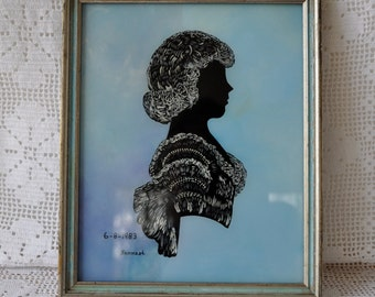 Girl's Portrait Silhouette Reverse Painting On Glass/Vintage 1980s/Folk Art Painting