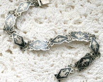 Vintage Siam Sterling Silver Niello Ware Bracelet Dancing Goddess Elephant Fairy Guardian Angel