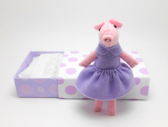 Felt Pig Plush doll in a matchbox  lilac violet