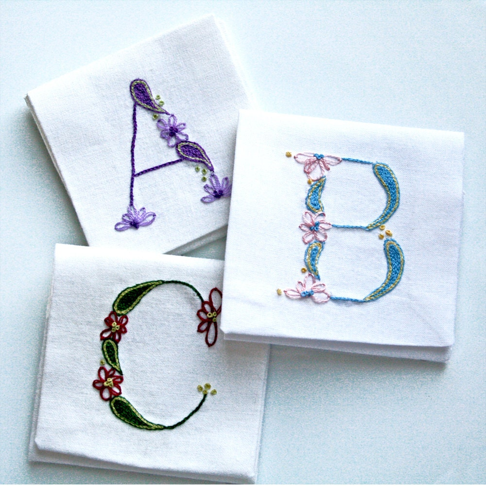 Diy pdf crewel embroidery pattern monogram a b c is for