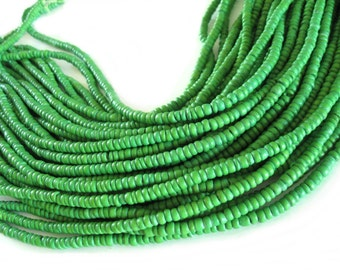 Coconut bead 120 lime green wood Beads - Coconut Rondelle Disk Beads 4-5mm  (PC219H)