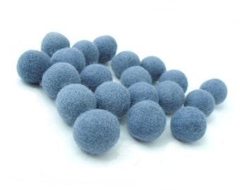 Felt Balls Blue - 20 Pure Wool Beads 23mm - Medium Blue Shade -   (W210)