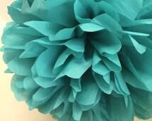 SEA GREEN / 1 tissue paper pom / wedding decorations / wedding poms / aqua decorations / tissue pompom / paper pom flowers / party pom decor