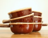 McCoy Brown Drip Glaze Pottery Handled Bowl Set