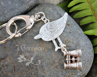 Bird Watcher Key Chain - antique silver bird silhouette and cute binoculars on large clip and key ring -Free Shipping USA