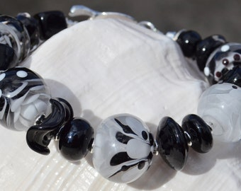 CLASSY-Handmade Lampwork and Sterling Silver Bracelet