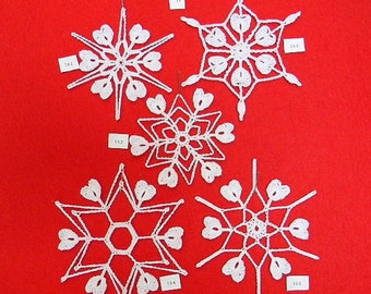 PDF Patterns for 5 Crocheted Snowflakes - set 33
