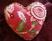 Beaded Art Red Floral Heart Pillow