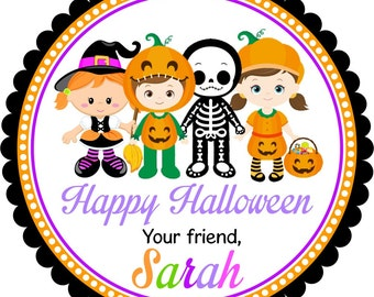 Halloween Stickers, Halloween Kids in Costumes, Personalized Halloween Gift Tags, Party Favor Labels -Set of 12