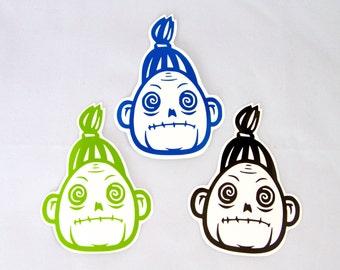 ON SALE NOW!!! Shrunken Head Roller Derby Helmet Vinyl Sticker / Vinyl Decal voodoo