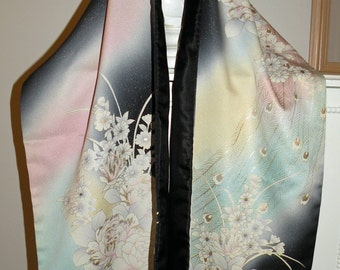 Silk Kimono Scarf/Shawl/Wrap/Shrug..Peacock..Bridal/Wedding Gift..Florals..Peacock Feathers..Seafoam Blue/Pink/Ivory/Yellow/Clutch available
