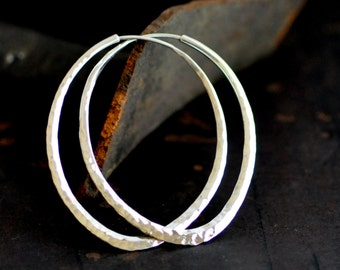 Lotus petal, sterling silver hoop earring, hammered oval hoop 2 inch long