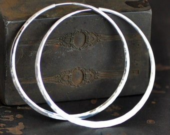2 1/2 inch Large sterling silver hoops,  planishing smooth mirror polish or your choice,  endless style hoop earring
