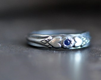 sterling silver blue sapphire ring with hearts and antique pattern, your choice of stone, ruby, sapphire, moissanite, diamond