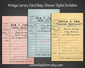 Vintage Library Card Baby Shower Invitation Personalized Digital Download C-582 Build a Library for Baby