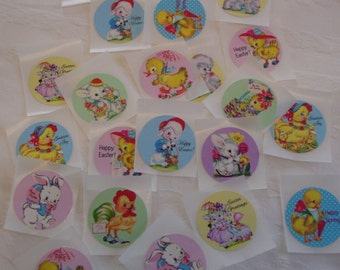 "Retro Easter Circles 1.5""  Stickers, Seals for embellishing Tags, Cards, Scrapbooking,  Cupcake Toppers, Envelopes, 20 Peal N Stick Stickers"