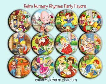 Retro Nursery Rhymes Pin Back Buttons, Mirrors, Magnets or Key Chains for Party favors, Showers,  Birthday Party Favors, Set of 12
