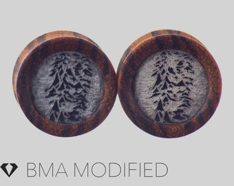 """5/8"""" (16mm) Black and White Pulsar in Zebrawood Plugs #3759"""
