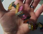 Colorful Quartz Chip Necklace With Faceted Multicolored Crystals