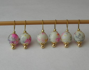 watercolor knitting stitch markers - snag free - glass beads 10mm - set of 6 8 10 or 12 - two loop sizes available