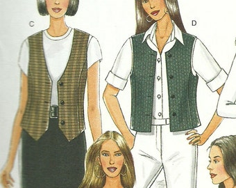BUTTERICK PATTERN B5359, ladie's vests, five styles, fits sizes extra small, small, and medium, new and uncut