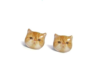 Cute Orange and White Exotic Cat Kitten Stud Earrings - A025ER-C10 MadeTo Order / Pet memorial gift / Pet Jewelry / personalized / Cat Lover
