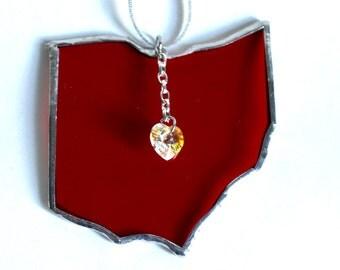 Ohio State Stained Glass Suncatcher-Ornament - Swarovski Heart - OSU Buckeyes