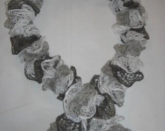 Handmade Knit  Ruffle Scarf appr 4  x 66