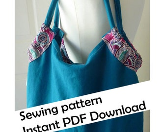 Reversible beach bag PDF sewing pattern