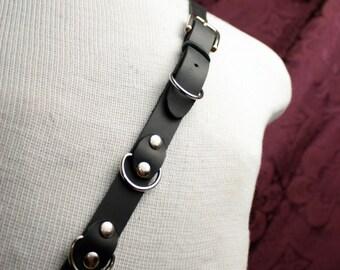 Single Shoulder Suspender Black Leather, Silver,  Braces, Mens shoulder strap, Vampire Hunter, Steampunk slave, FETISH, Domme, Sub, BDSM