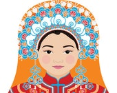 Taiwanese Bride Matryoshka Art Print, Kids Wall Art