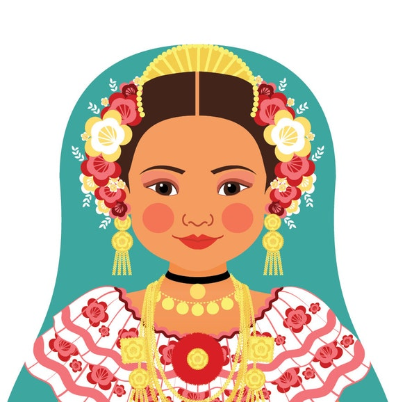 Panamanian Doll Art Print with traditional folk dress, matryoshka