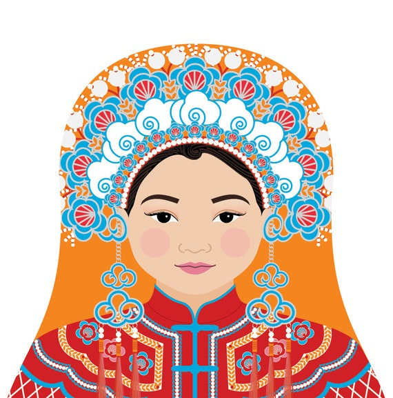 Chinese Bride Doll Art Print with traditional dress, matryoshka