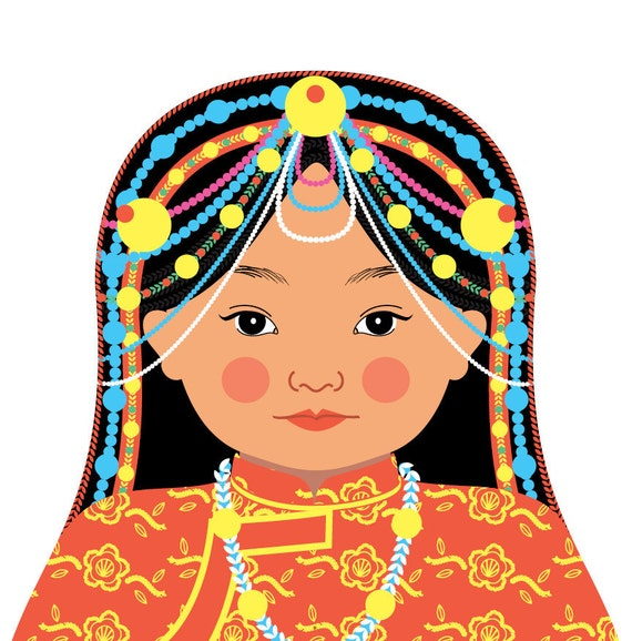 Tibetan Wall Art Print features culturally traditional dress drawn in a Russian matryoshka nesting doll shape