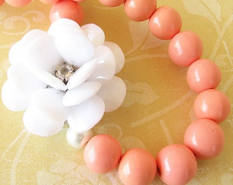 Coral Necklace Statement Necklace Flower Necklace Bib Necklace Bridesmaid Gift Bridal Shower Gift