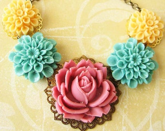 Flower Necklace Rose Jewelry Statement Necklace Colorful Jewelry Single Strand Bib Gift